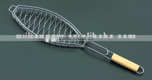 Hot sell New Chrome plated coating Steel single fish shape bbq grill wire mesh net