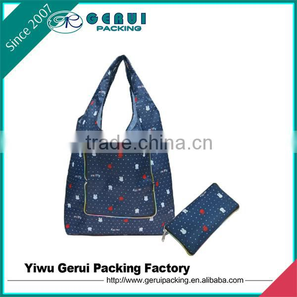 zipper closure polyester foldable shopping bag