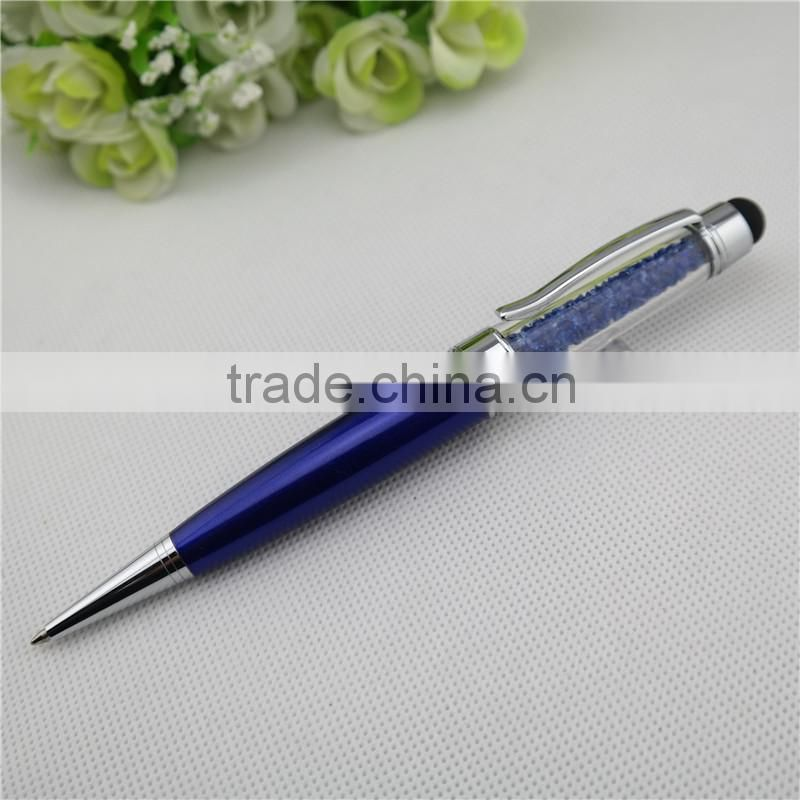 TCR-08 novelty crystal touch pen , 3 in 1 stylus pen with usb drive