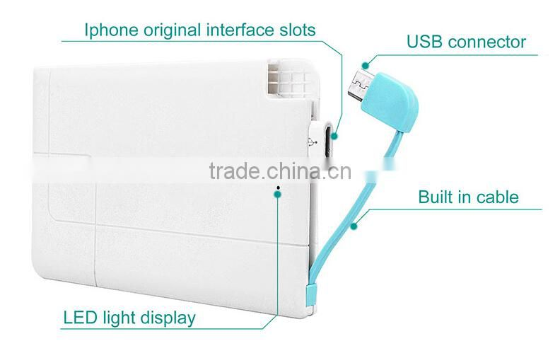 Alibaba New Product Credit Card Size Power Bank Built-in Usb Cable for Mobile Phone