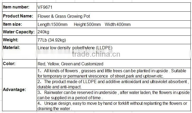ISO China manufacturing PE tree plant big outdoor flower pots