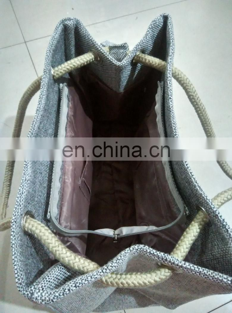 High Quality Grey Color Linen Personalized Office Ladies Bag Woman Shoulder Bag