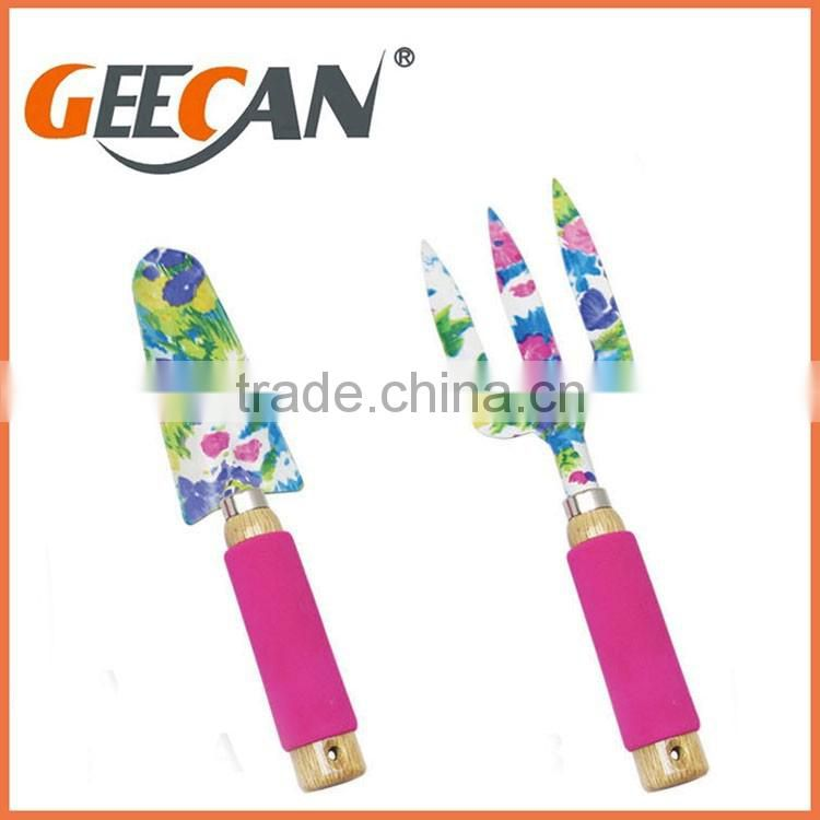 3 pcs floral printing garden shovel,rake,fork with different color