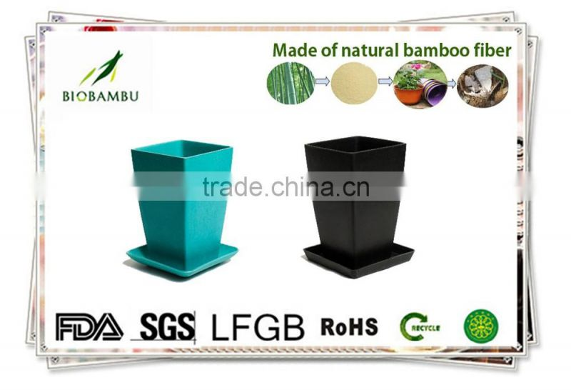 Glossy OEM available ornamental bamboo fiber flowerpot