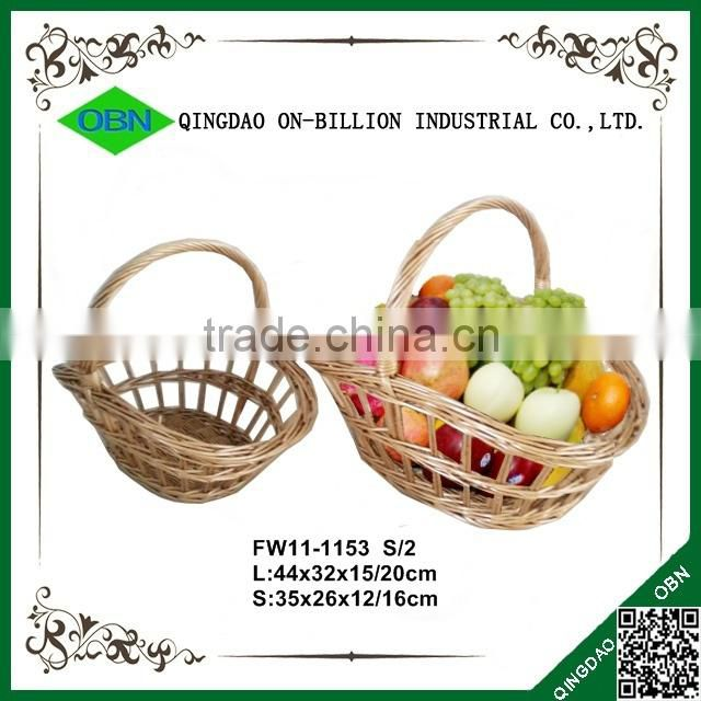 Willow wicker plate with handle