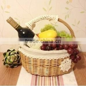 Wholesale decorative empty indian wicker wedding gift fruit basket decoration