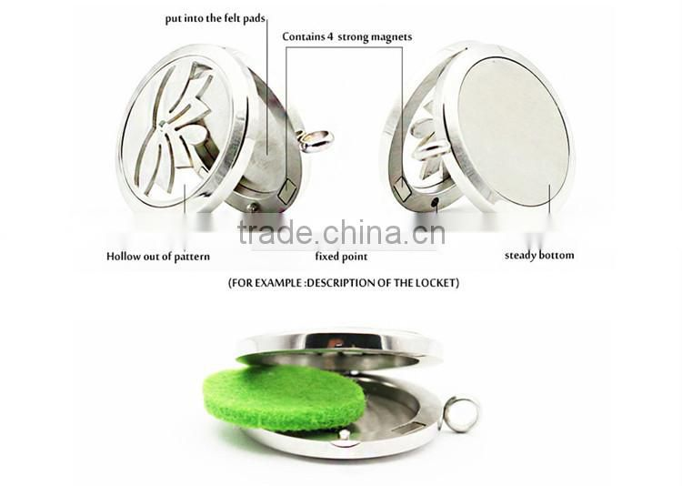Stainless Steel Material Round Shape Aromatherapy Locket For Essential Oil