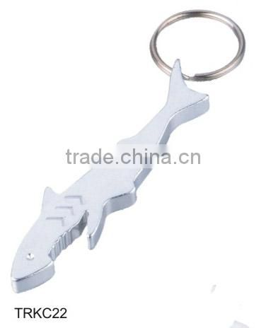 Fish Shaped Metal Bottle Opener Keychain Keyring Key Chain Ring