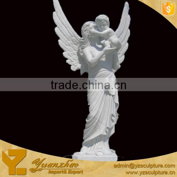 large size outdoor white marble female angel holding a baby sculpture for garden decoration