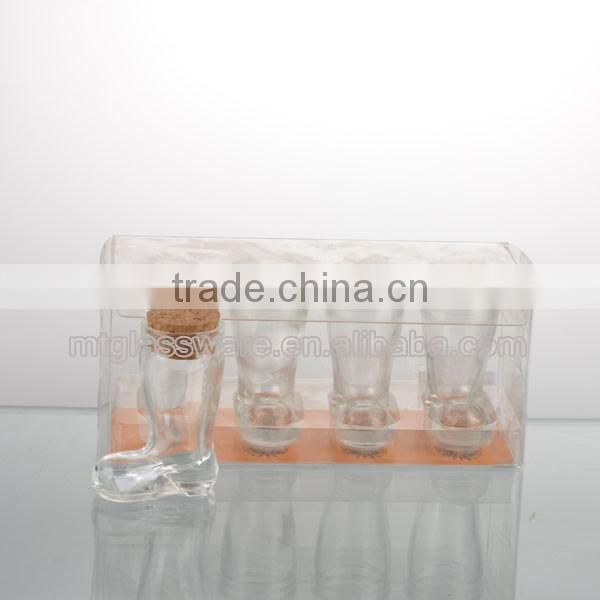 4pcs clear boot shot glass with pvc