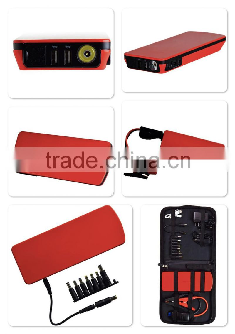 Dual USB 12V jump starter 18000 mah mini jump starter with Inteligent clamps