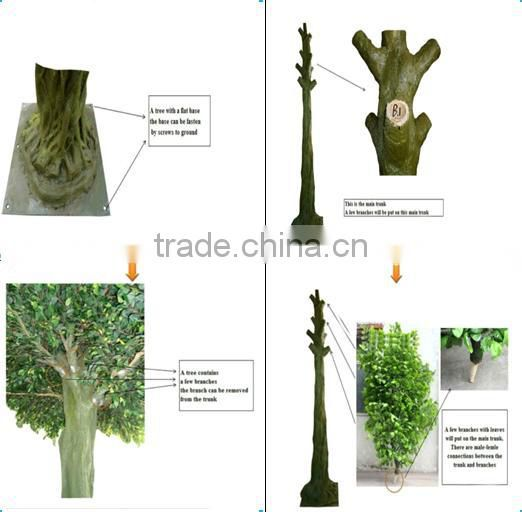 LXY072050 wall decor evergreen foliage plants ornamental metal trunk artificial ficus tree