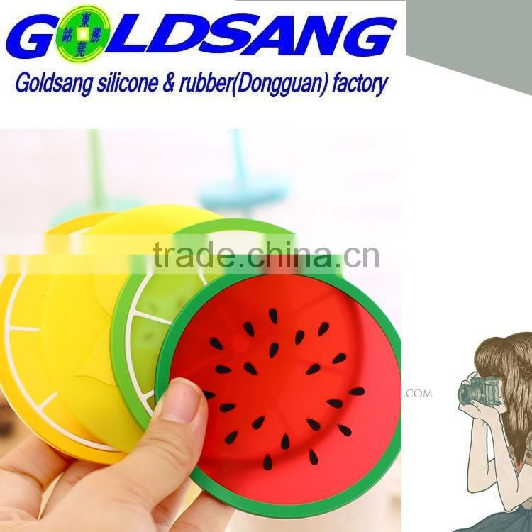 2015 hot selling fruit shape heat resistant silicone cup mat house decoration