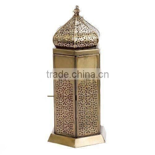 shiny tall stainless steel wedding lantern