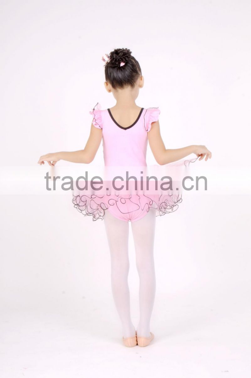 Girls short sleeve pink ballet tutu dress fabric tulle classical dance costume D031007
