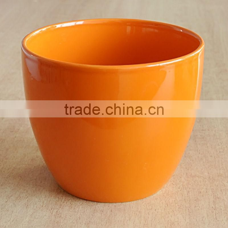 Glazed Drum Belly Ceramic Flower Pot