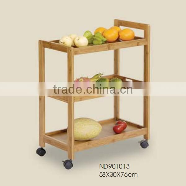 2015 cheap Customized Bamboo Dining Car wtih food holder three layers