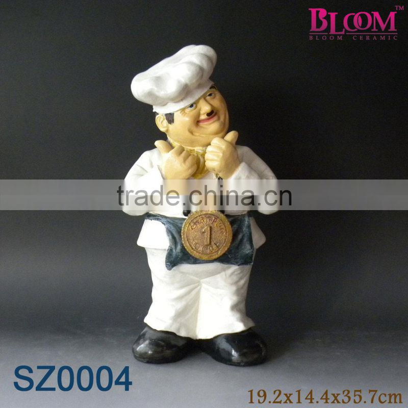 Promotional handmade chef shape polyresin decorative figure
