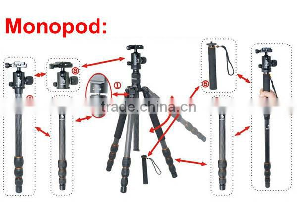 Professional Carbon Fibre Tripod Ball Head Monopod For Digital Camera DSLR