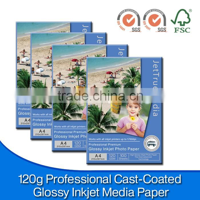 120GSM Single Side Glossy Photo Paper for HP, Canon, Epson Inkjet Printer/A4, A3, letter size, 10x15, A5, A6 /ISO9001/14001, FSC