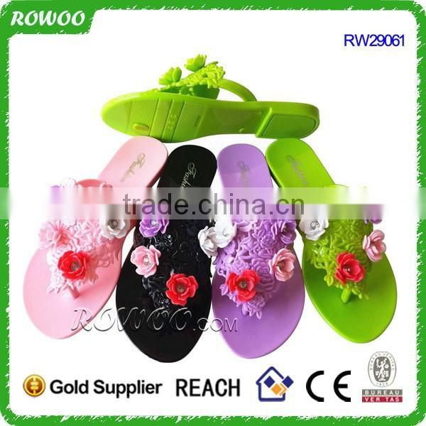 Fashion Beautiful flat jelly shoes with blooming flower jelly shoes
