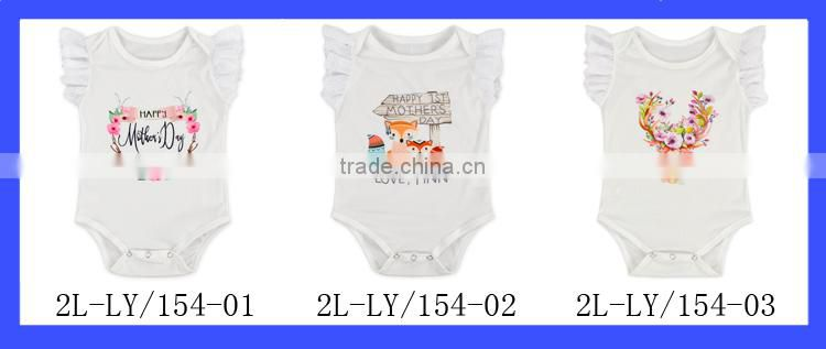 Wholesale Infant Baby White Blank Jumpsuit Lace Sleeve Printing Cartoon Cotton Romper