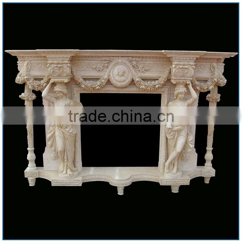 Antique Religious Gorgeous Stone Marble Fireplace Mantel for Sale with Nude Lady