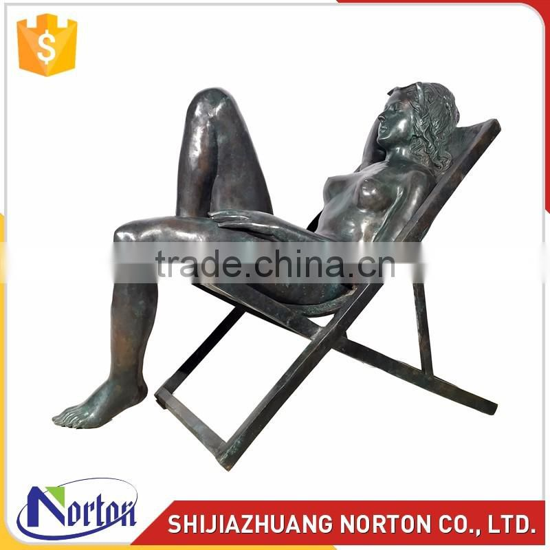 modern female erotic bronze sculpture craft supplies NTBH-S807X
