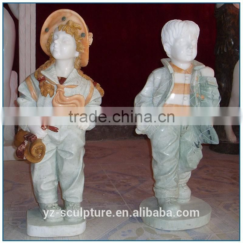 Western Modern Outdoor Decoration Life Size Colorful Stone Marble Children Statue