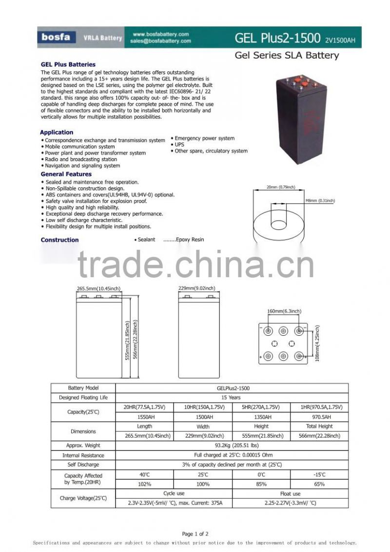 gel solar battery 2v 1500ah for solar power battery bank