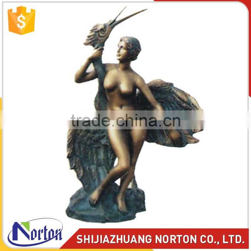 Life size bronze nude woman and swan for sale NTBH-013LI