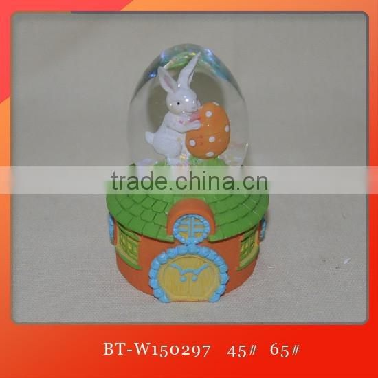 Easter bunny water globes polyresin bunny water globe Easter snow ball