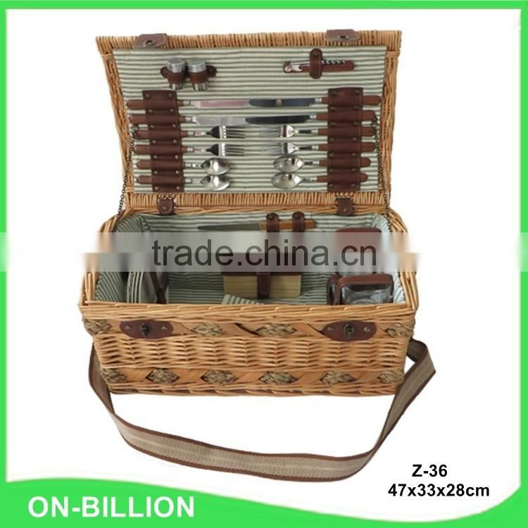 New 4 persons wicker high quality picnic basket