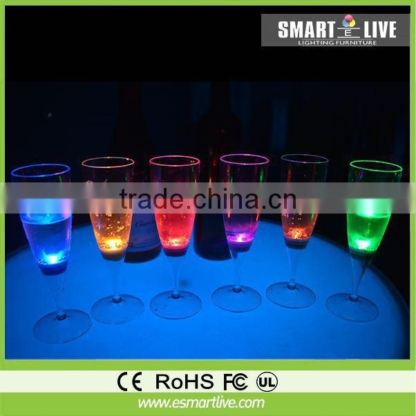 LED illuminated liquid active plastic wine glass