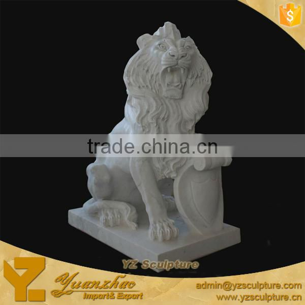 Beautiful Carved life-size Marble Lion Animal Sculpture