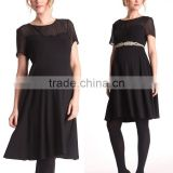 wholesale maternity clothes sheer shoulder maternity dress plain black short sleeve maternity clothes cheap
