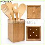 Square Bamboo Utensil Organizer with Spoons/Utensil Drainer Holder Caddy/Homex_FSC/BSCI Factory
