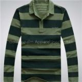 New 100% Cotton Men Long Sleeve Stripe Embroidery Polo-shirt