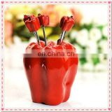 Wedding Gift Green Pepper Design Fruit Fork