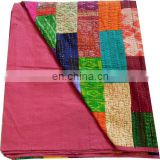 Indian Vintage Patola Silk Sari Kantha Quilt Patchwork Blanket bed sheet handmade Bedspreads,Throws silk kantha quilted ethnic