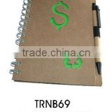 Best selling ECO friendly Recycled spiral paper note book with recycled ball pen