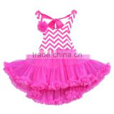 Conice children's dress red sleeveless lace trimmings tutu dress for wholesale