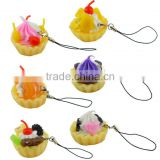 Fashionable Charm Mobile Phone Pendant in EVA Material,Charms Cake Rubber Hanger for Mobile