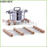 Folding Antique Bamboo Extensible Cooking Trivet/Homex_FSC/BSCI Factory