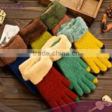 Ladies fashion hot knitted winter glove touch screen gloves smart phone 3 finger touch screen gloves