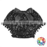 Stylish kids clothes wholesale Cotton & sequin front bow girls bloomers kids girls pom pom sequin shorts