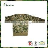 Wool & Acrylic V Neck Military Sweater For Men