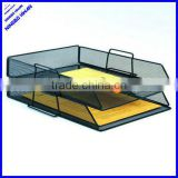 2 tier office metal mesh desk stacking file tray
