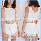 2015 Summer white lace tow piece matching tops and pants for women shirt