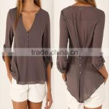 Grey Long Sleeve Chiffon Blouse Shirt Fall Deep V Neck Buttoned Back High Low Asymmetric Loose Casual 2016 Women Top 4 Colors